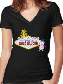 Fabulous Gold Saucer Alternate Women's Fitted V-Neck T-Shirt