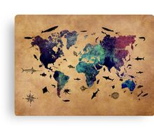 Map of the world atlas Canvas Print