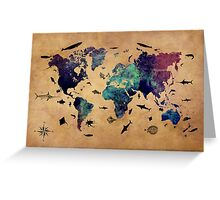 Map of the world atlas Greeting Card