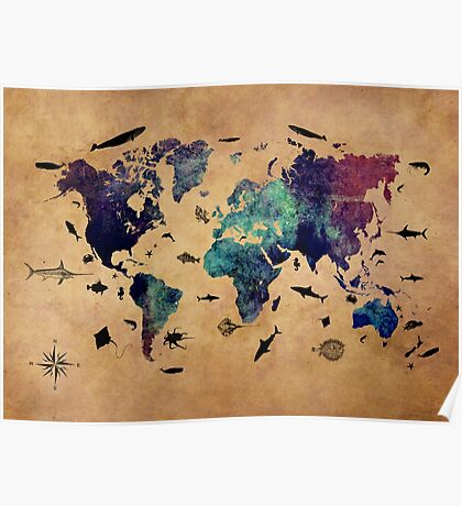 Map of the world atlas Poster
