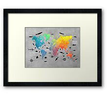 Map of the world grey Framed Print