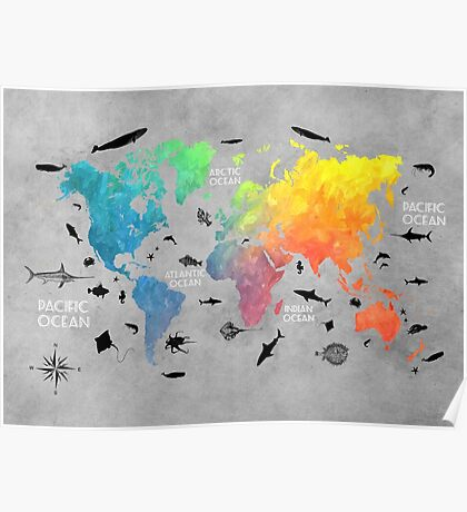 Map of the world grey Poster