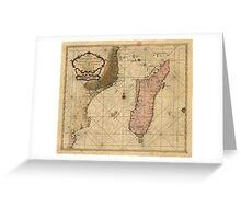 Vintage Map of Madagascar (1679) Greeting Card