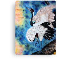 Crane snuggle Canvas Print