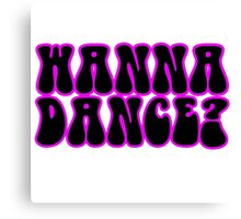 Wanna Dance 80s 70s Retro Disco Neon Music Canvas Print