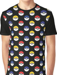 Team Poke Ball Pattern - Black Graphic T-Shirt
