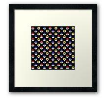 Team Poke Ball Pattern - Black Framed Print