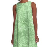 Pistachio Oil Painting Color Accent A-Line Dress