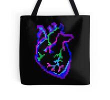 Pixel Neon Heart Tote Bag