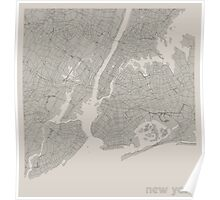Minimal Maps - New York - Light Poster
