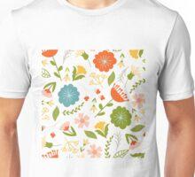 Colorful Woodland Elements Pattern Cute Illustration Unisex T-Shirt