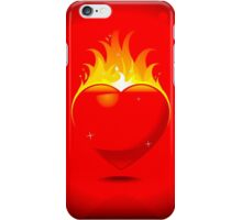 Flaming Heart on Red Background iPhone Case/Skin