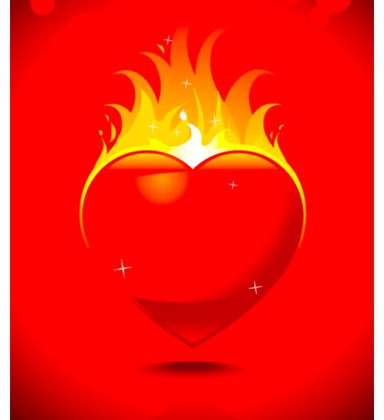 Flaming Heart on Red Background Sticker