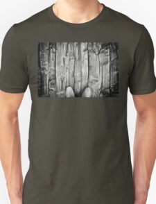 man boots wooden board floor Unisex T-Shirt