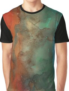 Orange & Blue Watercolor Graphic T-Shirt