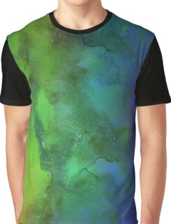 Green & Blue Watercolor Graphic T-Shirt