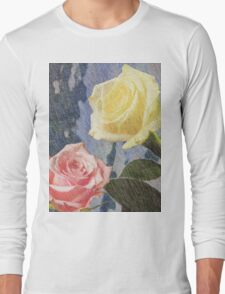 A painting of two Roses and their reflection in water with copy space. Long Sleeve T-Shirt