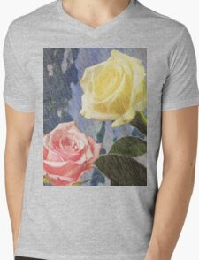 A painting of two Roses and their reflection in water with copy space. Mens V-Neck T-Shirt