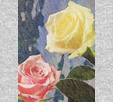 A painting of two Roses and their reflection in water with copy space. Unisex T-Shirt