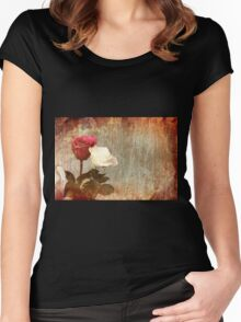 A painting of two Roses and their reflection in water with copy space. Women's Fitted Scoop T-Shirt