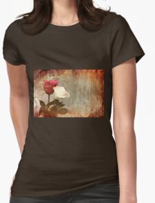 A painting of two Roses and their reflection in water with copy space. Womens Fitted T-Shirt