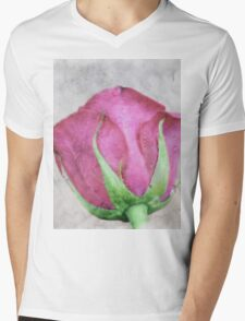 A painting of pink Rose . Mens V-Neck T-Shirt