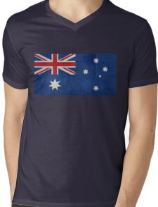 The National flag of Australia, retro textured version (authentic scale 1:2) Mens V-Neck T-Shirt