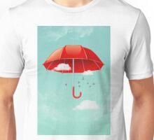 Teal Sky Red Umbrella Unisex T-Shirt