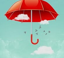 Teal Sky Red Umbrella by Vin  Zzep