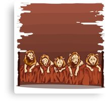 Five Lions in a Bed Canvas Print