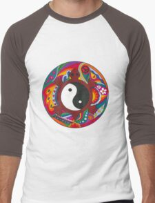 Psychedelic Turtle Yin Yang Men's Baseball ¾ T-Shirt