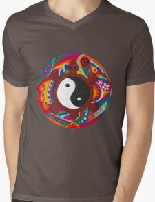 Psychedelic Turtle Yin Yang Mens V-Neck T-Shirt