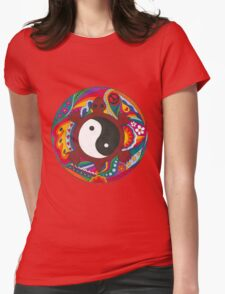Psychedelic Turtle Yin Yang Womens Fitted T-Shirt