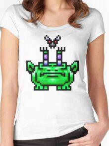 8bit Pixel Art Frog & Fly BFF Women's Fitted Scoop T-Shirt