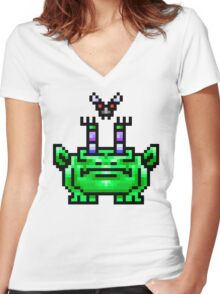 8bit Pixel Art Frog & Fly BFF Women's Fitted V-Neck T-Shirt