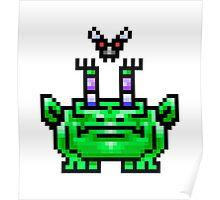 8bit Pixel Art Frog & Fly BFF Poster