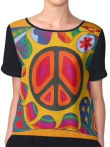 Psychedelic Flaming Peace Chiffon Top