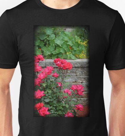Rose Bush Against Stonewall Unisex T-Shirt