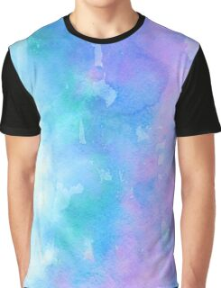 Blue and Pink Watercolor Graphic T-Shirt