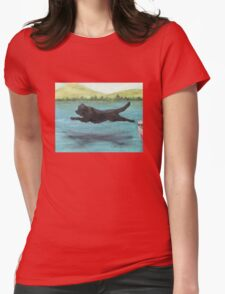Newfoundland Dog Jump Cathy Peek Animal Art Womens Fitted T-Shirt