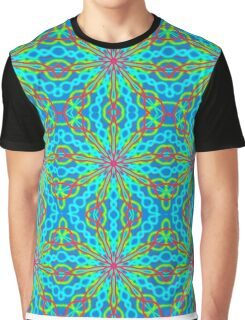 Mandala With Red Aqua And Yellow - Tiled Graphic T-Shirt