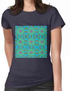 Mandala With Red Aqua And Yellow - Tiled Womens Fitted T-Shirt