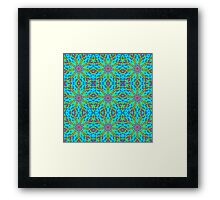 Mandala With Red Aqua And Yellow - Tiled Framed Print