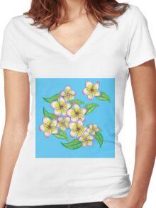 Frangipani Women's Fitted V-Neck T-Shirt