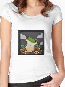 Moody Little Tree Frog Women's Fitted Scoop T-Shirt