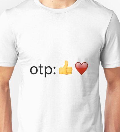 otp: *thumb emoji* *heart emoji* w/o text Unisex T-Shirt