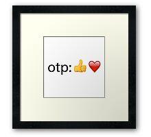 otp: *thumb emoji* *heart emoji* w/o text Framed Print