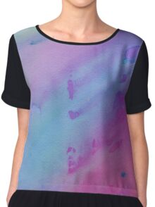 Pink, Blue and Purple Watercolor Chiffon Top