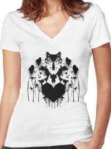 Dan Smith Inkblot Women's Fitted V-Neck T-Shirt