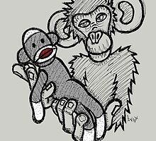 Mokey Holding a Sock Monkey by Brett Gilbert